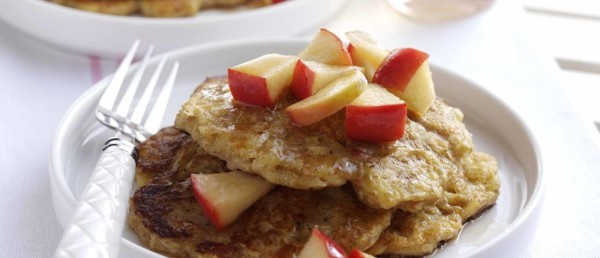Apple and Oat Blini Pancakes with Agave Syrup